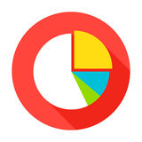 Pie Chart Flat Circle Icon. Pie Chart Icon. Vector Illustration Flat Style Circle Item with Long Shadow. Data Analysis Royalty Free Stock Photos