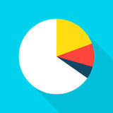 Pie Chart Flat Icon. Pie Chart Icon. Vector Illustration Flat Style Item with Long Shadow. Data Analysis Royalty Free Stock Photography