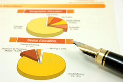 Pie chart with fountain pen Royalty Free Stock Image