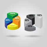 Pie chart with four columns. In two versions - color and grayscale Stock Photos