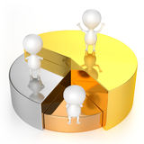 Pie Chart (Gold, Silver, Bronze) and Characters Stock Image