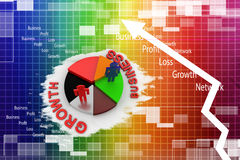 Pie chart graph with growth and business Illustration Stock Photos