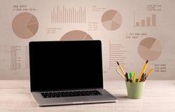 Pie chart graph office desk Stock Images