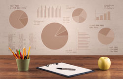 Pie chart graph office desk Royalty Free Stock Image