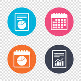 Pie chart graph sign icon. Diagram button. Royalty Free Stock Images