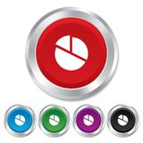Pie chart graph sign icon. Diagram button. Stock Photo