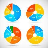 Pie Chart Icons Flat Royalty Free Stock Images