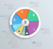 Pie chart with icons, infographics, for web and mo Royalty Free Stock Photos