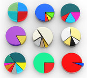 Pie chart on isolated background Stock Photos