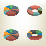 Pie chart isometric vector illustration. Pie chart  on white background. Design elements of infographics. Flat 3D isometric style, vector illustration Royalty Free Stock Images