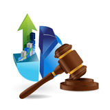 Pie chart and legal hammer illustration design Royalty Free Stock Image