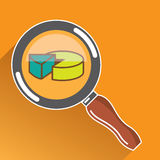 Pie Chart through Magnifying Glass Icon vector Stock Image