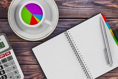 Pie Chart in Morning Coffee Cup, Calculator, Pen and Organizer. Pie Chart in Morning Coffee Cup, Calculator, Pen and Organizer on a wooden table. 3d Rendering Royalty Free Stock Image