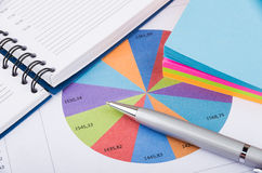 Pie chart, notepad, paper and pen. On table Royalty Free Stock Photography