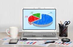 Pie chart om screen. Laptop in office Royalty Free Stock Photo