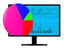 Pie Chart Online Indicates World Wide Web And Analysis Stock Images