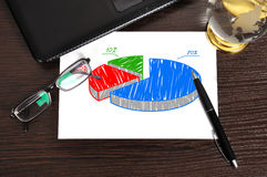 Pie chart on paper. Workplace with growth pie chart on paper Stock Photo