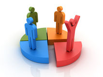 Pie Chart with People. Three dimensional illustration of Pie Chart with pictogram people Stock Photography