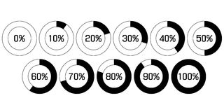 Pie chart in percent. The pie chart in percent. UB percent download bar for apps, web. Performance analysis in percent by increments of 10. Vector elements Stock Images