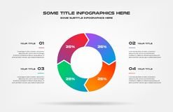 Pie chart of percentage infographics. Element of graph, diagram with 4 options - parts, processes, timeline. Vector. Business template for presentation stock illustration