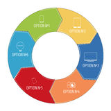Pie chart with pictograms in flat style. Infographic stock illustration