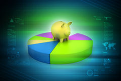 Pie chart with piggy bank Royalty Free Stock Photos