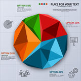 Pie chart in polygon style - business statistics Stock Images
