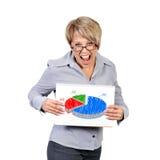 Pie chart profits. Businesswoman holding poster with pie chart profits Stock Photo