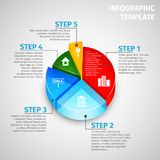 Pie chart real estate infographic. Colored abstract 3d pie chart real estate infographic template vector illustration Royalty Free Stock Image