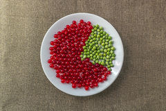 Pie chart of red currant and green peas Stock Image