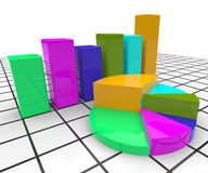 Pie Chart Report Indicates Business Graph And Document Stock Photo