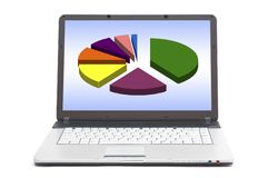 Pie chart on the screen of notebook Stock Photo