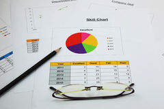 Pie chart of skill in your business, black pencil and spectacles Stock Image