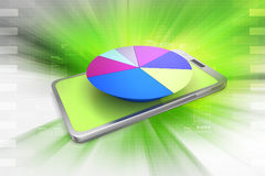 Pie chart on smart phone Royalty Free Stock Photography