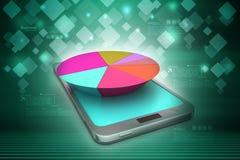 Pie chart on smart phone Stock Photo