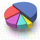 Pie Chart on Squared Graph Paper. Multicolored Elevated Pie Chart on Squared Graph Paper Royalty Free Stock Photography