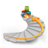 Pie chart in steps with arrow. Illustration of pie chart in steps with arrow on white background Royalty Free Stock Image