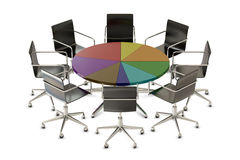 Pie chart table with chairs Stock Photography