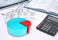 Pie chart, tablet pc, book, calculator, glasses, Stock Photography