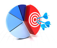 Pie chart with target Royalty Free Stock Photo