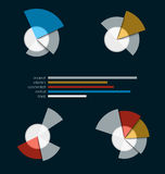 Pie chart with torn petals of different lengths. With a linear d Stock Photography