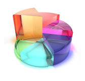 Pie chart of translucent colored glass Stock Image