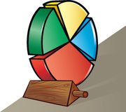 Pie chart. Vector illustration of chock stopping pie chart wheel Royalty Free Stock Images