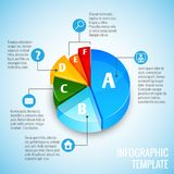 Pie chart web design infographic. Colored abstract 3d pie chart web design infographic element with internet icons vector illustration Stock Photography