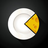 Pie chart of white plate and cheese slices Stock Images