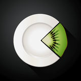 Pie chart of white plate and kiwi fruit slices Stock Photos