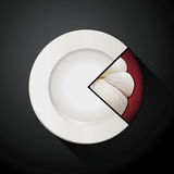 Pie chart of white plate and mangosteen slices Stock Photos