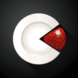Pie chart of white plate and strawberry slices Royalty Free Stock Photography