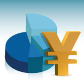 Pie chart yen sign illustration Stock Images