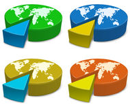 Pie charts. Icon set. Pie charts of the globe with the world divided into two parts Royalty Free Stock Photos